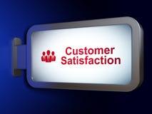 营销概念:用户满意和商人广告牌背景的 库存照片