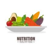 营养健康食物jflatcy和鲜美菜在板材 库存例证