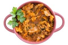 营养圆白菜汤用绞细牛肉 库存照片