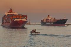 萨伊德/EGYPT 2007年1月02nd日-集装箱船新德里 免版税库存照片