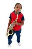萨克斯管吹奏者年轻人 免版税库存照片