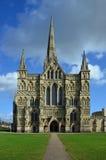 萨利大教堂,西部门面,威尔特郡 免版税库存照片
