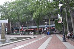 萨利姆,麻省, 6月1日:萨利姆历史的广场街市艾塞克斯郡Massachusettes国家的美国 免版税库存图片