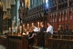 萨利,英国- 2013年8月02日:唱歌在wo的合唱 免版税图库摄影