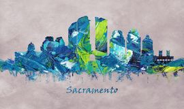 萨加门多市在加利福尼亚,地平线 向量例证