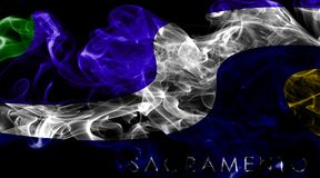 萨加门多市烟旗子,加利福尼亚状态, A美国  库存照片