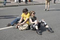 萨哈罗夫远景 自由互联网的政治集会,反对阻拦信使电报 与政治海报的青年时期 库存图片