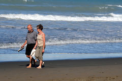 萨姆纳海滩在克赖斯特切奇新西兰 免版税库存照片