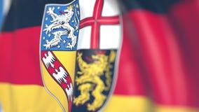 萨尔挥动的旗子,德国的状态 特写镜头,loopable 3D动画 向量例证