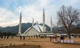 费萨尔清真寺在伊斯兰堡,巴基斯坦 免版税库存图片
