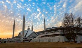 费萨尔清真寺在伊斯兰堡,巴基斯坦 免版税库存照片