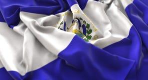 萨尔瓦多旗子被翻动的美妙地挥动的宏观特写镜头射击 库存照片