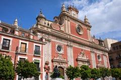 萨尔瓦多的教会在塞维利亚 免版税图库摄影