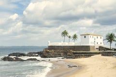 萨尔瓦多巴西殖民地堡垒圣玛丽亚在巴拉岛 库存照片