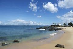 萨尔瓦多巴西波尔图da巴拉岛海滩堡垒圣玛丽亚 图库摄影