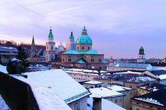 萨尔茨堡天主教大主教管区的17世纪巴洛克式的大教堂 库存图片