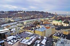 萨尔茨堡看法从Kapuzinerberg的早晨 免版税库存图片