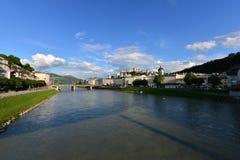 萨尔茨堡萨尔察赫河河 库存照片