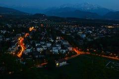 萨尔茨堡,奥地利在晚上 库存图片