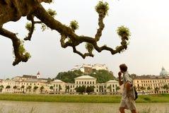 萨尔茨堡,奥地利- 2017年6月01日, :萨尔茨堡大学和fortr 免版税库存照片