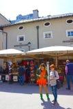 萨尔茨堡,奥地利- 2017年5月01日:老镇在萨尔茨堡,奥地利 免版税库存照片