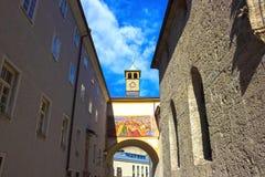 萨尔茨堡,奥地利- 2017年5月01日:老镇在萨尔茨堡,奥地利 图库摄影