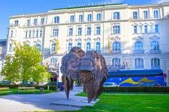 萨尔茨堡,奥地利- 2017年5月01日:莫扎特出生地在萨尔茨堡在奥地利 库存图片