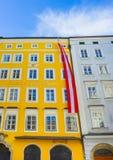 萨尔茨堡,奥地利- 2017年5月01日:莫扎特出生地在萨尔茨堡在奥地利 免版税图库摄影