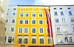 萨尔茨堡,奥地利- 2017年5月01日:莫扎特出生地在萨尔茨堡在奥地利 库存照片