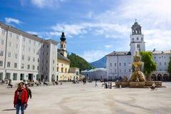 萨尔茨堡,奥地利- 2017年5月01日:中央地方在萨尔茨堡市 免版税库存照片