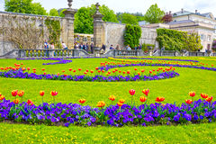 萨尔茨堡,奥地利- 2017年5月01日:美丽的Mirabell的部分在萨尔茨堡从事园艺 图库摄影