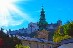萨尔茨堡,奥地利- 2017年5月01日:Hohensalzburg堡垒,奥地利的萨尔茨堡 免版税图库摄影