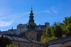 萨尔茨堡,奥地利- 2017年5月01日:Hohensalzburg堡垒,奥地利的萨尔茨堡 库存照片