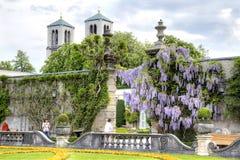 萨尔茨堡,庭院是布拉斯李树(Mirabelgarten) 库存图片
