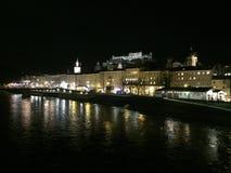 萨尔茨堡,萨尔察赫河,城堡 免版税图库摄影