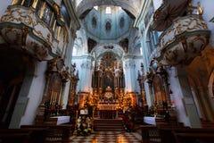 萨尔茨堡主教座堂教会内部  图库摄影