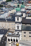 萨尔茨堡主教座堂,从Hohensalzburg城堡的看法塔  库存照片
