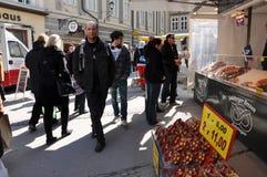 萨尔茨堡` s圣诞节市场 库存图片