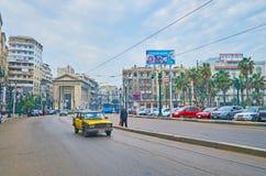 萨德・扎格卢勒广场在亚历山大,埃及 免版税库存图片