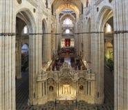 萨拉曼卡内部,西班牙新的大教堂  库存照片
