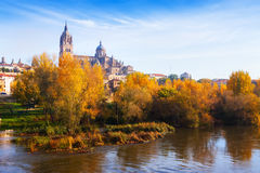萨拉曼卡秋天视图有河和大教堂的 免版税图库摄影