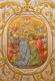 萨拉曼卡,西班牙, 2016年4月- 18日:在外衣的绘画 耶稣升天在Convento de las Duanas 库存照片