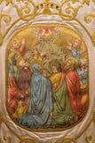 萨拉曼卡,西班牙, 2016年4月- 18日:在外衣的绘画 耶稣升天在Convento de las Duanas 图库摄影