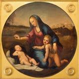 萨拉曼卡,西班牙, 2016年4月- 18日:玛丹娜绘画和孩子和圣约翰浸礼会教友在Convento de las Duanas 免版税库存照片