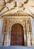 萨拉曼卡,西班牙, 2016年:Colegio Arzobispo丰塞卡湾心房的新生门户  库存照片