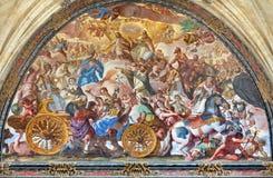 萨拉曼卡,西班牙:Fresco Triunfo de la Iglesia -教会的胜利在修道院Convento de圣埃斯特万里 免版税库存图片