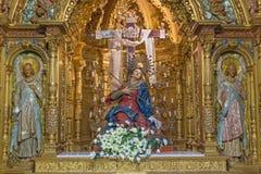 萨拉曼卡-我们的哀痛卡皮亚de在教会Iglesia de la维拉克鲁斯的los德洛丽丝的夫人被雕刻的多彩巴洛克式的法坛  免版税库存照片