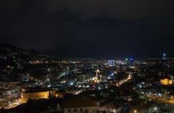 萨拉热窝夜视图从黄色堡垒的 免版税库存图片