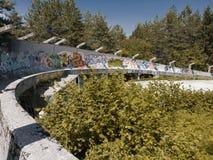 萨拉热窝放弃了奥林匹克突然移动雪橇 库存照片