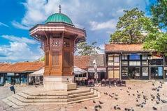 萨拉热窝老市中心 免版税库存照片